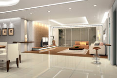 Rendering Interior living-room Stock Images