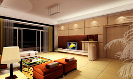 Rendering Interior living-room Royalty Free Stock Photography