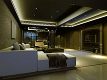 Rendering Interior living-room Stock Photos