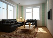Rendering Interior living-room Stock Photography