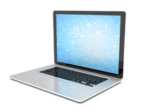 Rendering of a laptop with blue wallpaper and app. 3d rendering of a laptop with blue wallpaper with app icon Royalty Free Stock Photos