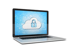 Rendering of a laptop with cloud security concept Stock Photography