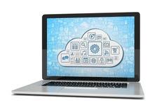 Rendering laptop z obłocznym pojęciem Zdjęcia Stock