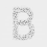 Rendering large letter B made up of white square uneven tiles Stock Images