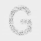 Rendering large letter G made up of white square uneven tiles Royalty Free Stock Photos