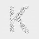 Rendering large letter K made up of white square uneven tiles Stock Images