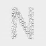 Rendering large letter N made up of white square uneven tiles Royalty Free Stock Photography