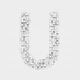 Rendering large letter U made up of white square uneven tiles Stock Photo