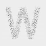 Rendering large letter W made up of white square uneven tiles Stock Image
