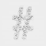 Rendering large octothorp symbol made up of white square uneven tiles Royalty Free Stock Photos