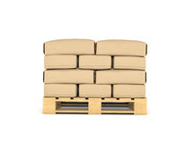 Rendering of large paper bags rest on pallet Stock Photos