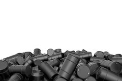 Rendering large pile of black oil barrels isolated on white background. 3d rendering of large pile of black oil barrels isolated on white background. Barrels and Stock Photos