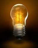 Rendering lightbulb z usa waluty symbolem Obraz Stock