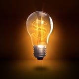 Rendering lightbulb z usa waluty symbolem Obrazy Stock