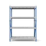 Rendering of metal rack with four shelves, isolated on a white background. 3d rendering of a metal rack with four shelves, isolated on a white background. Steel Stock Image