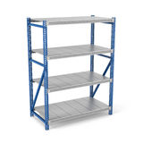 Rendering of metal rack with four shelves, isolated on a white background. 3d rendering of a metal rack with four shelves, isolated on a white background. Steel Royalty Free Stock Images