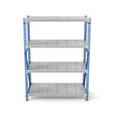 Rendering of metal rack with four shelves, isolated on a white background. 3d rendering of a metal rack with four shelves, isolated on a white background. Steel Stock Images