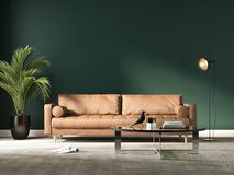 Rendering of a modern blue living room with a beige sofa