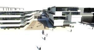 Rendering: modern buildings, embankment Stock Photo