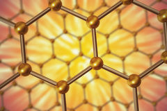 Rendering nanotechnology hexagonal geometric form close-up, concept graphene atomic structure. 3d rendering nanotechnology hexagonal geometric form close-up royalty free illustration