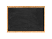 Rendering of new black chalkboard in the wooden frame isolated on white background. Royalty Free Stock Image
