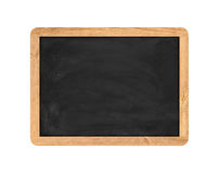 Rendering of new black chalkboard in the wooden frame isolated on white background. Stock Image