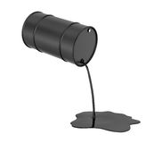 Rendering of oil pouring from black barrel and spilling isolated on white background. 3d rendering of oil pouring from a black barrel and spilling isolated on a Royalty Free Stock Photo