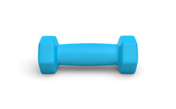 Rendering of one blue light weight dumbbell isolated on white background. 3d rendering of a one blue light weight dumbbell isolated on white background. Fitness Royalty Free Stock Photography