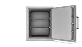 Rendering opened empty steel safe box placed in front of viewer isolated on white background Stock Photos
