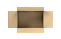 Rendering of opened light beige cardboard mail box, isolated on the white background Royalty Free Stock Photo