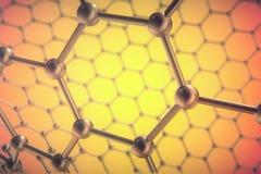 Rendering orange nanotechnology, hexagonal geometric form close-up, concept graphene atomic structure,   molecular Stock Images