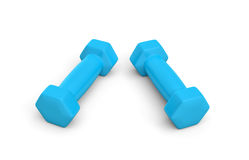Rendering pair of blue light weight dumbbells isolated on white background. 3d rendering of a pair of blue light weight dumbbells isolated on white background Royalty Free Stock Photos