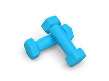Rendering pair of blue light weight dumbbells isolated on white background. 3d rendering of a pair of blue light weight dumbbells isolated on white background Stock Photos