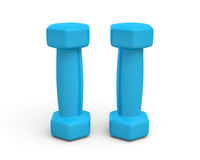 Rendering pair of blue light weight dumbbells isolated on white background. 3d rendering of a pair of blue light weight dumbbells isolated on white background Stock Image