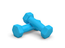Rendering pair of blue light weight dumbbells  on white background. 3d rendering of a pair of blue light weight dumbbells  on white background. Fitness and Royalty Free Stock Images