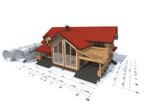 Rendering of a private house. 3D rendering of a house project on top of blueprints Stock Photos