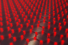Rendering red abstract nanotechnology hexagonal geometric form close-up, concept graphene atomic structure, molecular. 3d rendering red abstract nanotechnology vector illustration