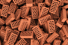 Rendering of red face bricks lying together in disorder, top view. 3d rendering of a huge amount of red face bricks lying together in disorder, top view Royalty Free Stock Photo