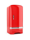 Rendering of red refrigerator, isolated on white background Royalty Free Stock Photography