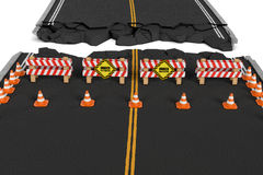 Rendering of road closed with barriers, traffic cones and caution signs due to roadworks diversion. Stock Photo