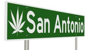 San Antonio highway sign with marijuana leaf. Rendering of a road sign with marijuana leaf for San Antonio vector illustration