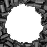 Rendering round frame of black oil barrels on white background. 3d rendering of round frame of black oil barrels on white background. Barrels and drums. Oil Stock Photos