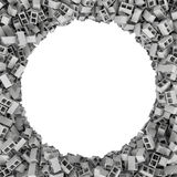 Rendering round frame of blocks on white background. 3d rendering of round frame of blocks on white background. Photo frame. Building material. Industry-specific Stock Photography