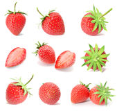 Rendering a set, collection of fresh strawberry fruits isolated on white background. Royalty Free Stock Images