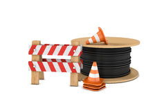 Rendering of several construction cones, fence and cable coil, isolated on white background. 3d rendering of several construction cones, fence and a cable coil Stock Photography