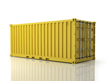 Rendering of a shipping container. Stock Photo