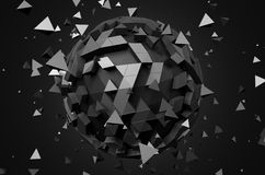 Rendering of Sphere With Chaotic Particles Royalty Free Stock Photography