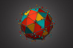 Rendering of Sphere with Wireframe and Particles Royalty Free Stock Photos