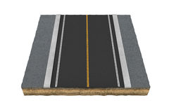 Rendering square piece of asphalt road isolated on the white background. 3d rendering of square piece of asphalt road isolated on the white background. Building stock image