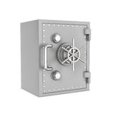 Rendering of steel safe box, isolated on white background. 3d rendering of a steel safe box isolated on a white background. Security storage. Bulletproof and royalty free stock photography